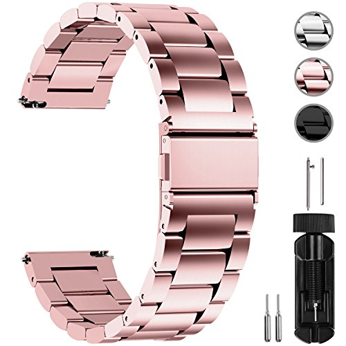 Fullmosa Quick Release Watch Band, Stainless Steel Watch Strap 16mm, 18mm,19mm,20mm,22mm or 24mm, 18mm Rose Gold