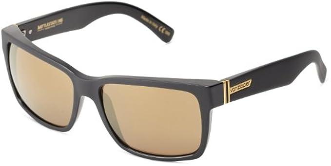 a96d687a710 Amazon.com  Von Zipper Elmore Sunglasses Black Gold Chrome   Carekit  Bundle  Clothing