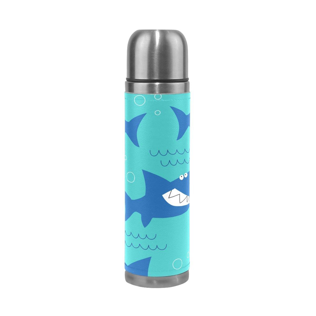 【楽ギフ_包装】 AlazaキュートSharks口ステンレススチール水ボトル二重壁真空断熱魔法瓶フラスコ本革カバー17 B07C9S1MDB oz oz B07C9S1MDB, 【国内在庫】:2b32057e --- a0267596.xsph.ru