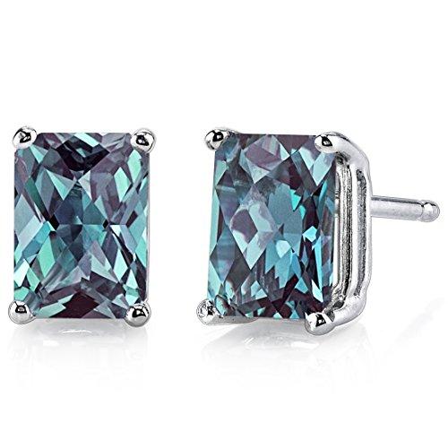 - 14 Karat White Gold Radiant Cut 2.50 Carats Created Alexandrite Stud Earrings