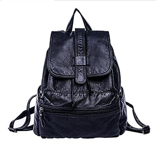 Women PU Leather Backpacks Ladies Shoulder School Bag Rucksack For Girls Travel Black Bolsas Mochilas Sac A Dos Soft - Black Croc Belt