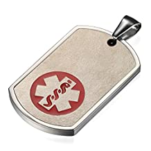 Flongo Free Engraving Men's Stainless Steel Medical Alert ID Dog Tag Pendant Necklace, 21.65 inch Chain