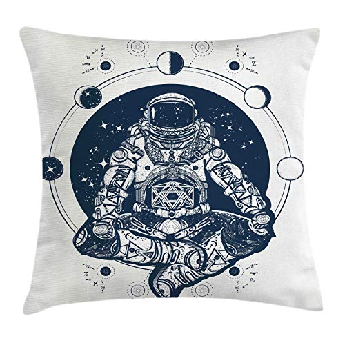 (Lunarable Moon Phases Throw Pillow Cushion Cover, Spaceman Silhouette Sitting in Lotus Pose Yoga Chakra Zodiac Zen Harmony, Decorative Square Accent Pillow Case, 16 X 16 Inches, Dark Blue White)