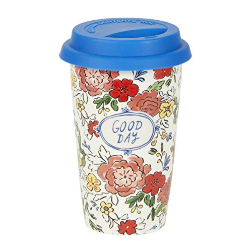 C.R. Gibson 12 Ounce Ceramic Travel Mug, By Molly Hatch, Silicone Lid, Top Rack Dishwasher, Microwave Safe, Measures 3.6