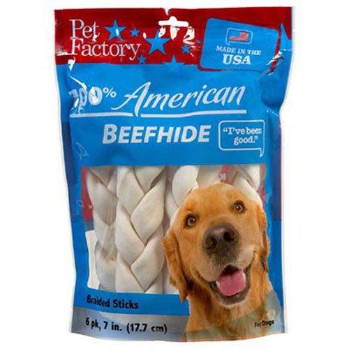 Pet Factory U.S.A. Beef Hide Braided Sticks Chews for Dogs, Medium 6