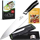Cooky King Chef Knife 8 inch - PROFESSIONAL Knife-Ultra Sharp Blade + Finger Protector- High Carbon Stainless Steel Kitchen Knife - Great Ergonomic Handle - 2 Free E-book's & Gift Box
