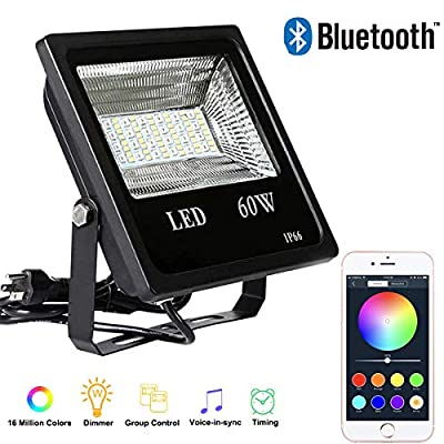 60W RGB Led Flood Light,Bluetooth App Control LED Flood Lights,IP66 Waterproof Dimmable Outdoor Led Security Lights,Spotlight, Landscape Light,Memory Function Stage Light