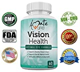 Amate Life Vision Health with Quercetin Dihydrate 100mg - Essential Eye Vitamins, Lutein 20mg & Bilberry Capsules for Natural Eye Support - Made in USA - 60 Vegetable Capsules