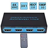 4K@30Hz 4 x 2 HDMI Matrix Switch,Awakelion 4 In 2 Out Switcher / Splitter with Optical & L/R Audio Output - Support Ultra HD 4K x 2K,3D 1080p,ARC,PIP - Includes IR Remote Control & Power Adapter