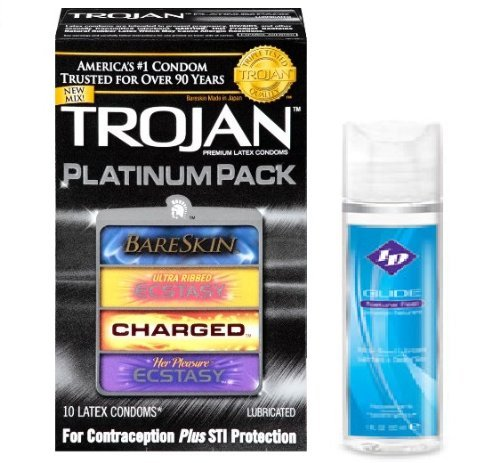 Trojan Platinum Pack Premium Latex Condoms + Bonus Free ID Glide Water Based Lubricant 1 fl oz Bottle