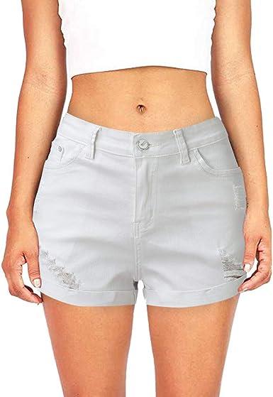 Shorts Vaqueros elásticos de Mujer Pantalones Cortos de Mezclilla ...
