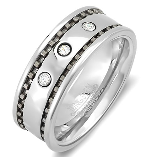 Tungsten Carbide Men's Ladies Unisex Ring Wedding Band 8 MM 0.25 CT 3 Stone Cubic Zirconia CZ Polish Finish Shiny Comfort Fit (Available in Sizes 8 to 12) size (0.25 Ct Three Stone)