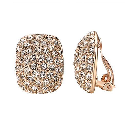 Yoursfs Clip Earrings For Women With Round Austrian Crystals Non Pierced Ears Clip-On Earrings (Large Clip Earrings) ... (Crystal Ear Clips)