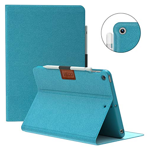 VECO iPad Air 3 Case with Pencil Holder 2019, [Denim Series] Premium Flip Stand Case, Soft TPU Back Cover [Auto Sleep/Wake Feature] for Apple New iPad Air 3rd Generation (Blue)