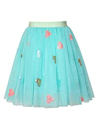 Sunny Fashion Girls Skirt Blue Heart Sequins Sparkling Tutu Dancing Size 2-12