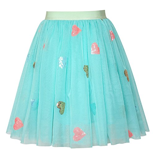 (LL13 Girls Skirt Blue Heart Sequins Sparkling Tutu Dancing Size 6)