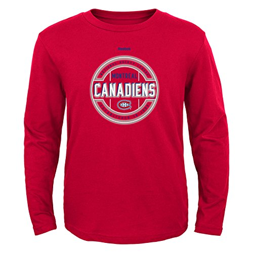 NHL Montreal Canadiens Boys Attacking Zone Performance Long Sleeve Tee, Medium/(10-12), Red