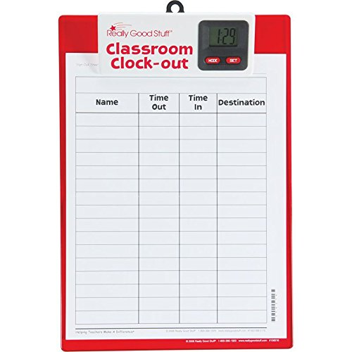 Really Good Stuff Classroom Clock-Out Clipboard - Keep Track of Students with Sign-Out/Sign-in Sheet and Digital Clock - Durable Clipboard with Easy-to-Read Clock, 9