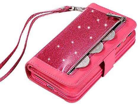 Zipper Bag Case for iPhone XS,taStone Wallet PU Leather Flip Zipper Phone Case iPhone X Cover with Card Slots Glitter Bling Stand Shell Sleeve Protective for 5.8 inch iPhone X,iPhone XS,Red
