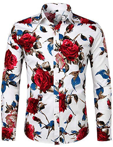 ZEROYAA Men's Hipster Retro Rose Floral Printed Casual Slim Fit Long Sleeve Streth Shirt ZLCL04-101-White ()
