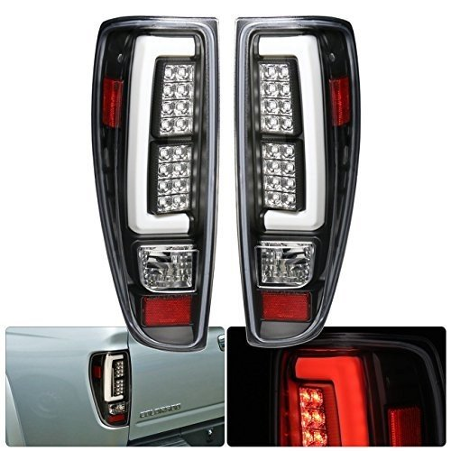 Tube Style Led Tail Lights Brake Stop Lamps Pair For Chevy Colorado GMC Canyon (Black)
