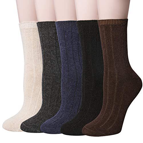 5 Pairs Womens Winter Warm Knit Wool Casual Crew Socks