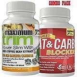 Maximum Trim - PREMIUM Garcinia Cambogia & Fat & Carb Blocker Combo Pack. Most EFFECTIVE for Weight Loss - 95% HCA Garcinia Cambogia; Supplements To Reduce Appetite & Block Fat and Sugar