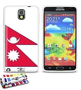 Carcasa Flexible Ultra-Slim SAMSUNG GALAXY NOTE 3 de exclusivo motivo [Bandera Nepal ] [Blanca] de MUZZANO  + ESTILETE y PAÑO MUZZANO REGALADOS - La Protección Antigolpes ULTIMA, ELEGANTE Y DURADERA para su SAMSUNG GALAXY NOTE 3