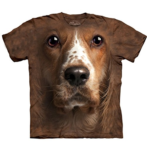 Mountain American Cocker Spaniel Face Adult Size T-shirt , Brown , Small