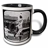3dRose Scenes from the Past Magic Lantern Slides - Vintage Detroit Tigers Making the Catch Black and White - 11oz Two-Tone Black Mug (mug_16264_4)