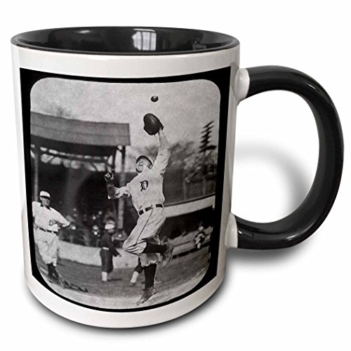 3dRose 16264_4 Vintage Detroit Tigers Making the Catch Black and White Ceramic Mug, 11oz,