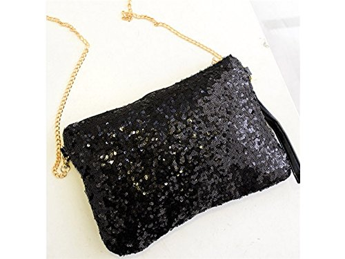 Party Black Evening Clutch Vintage Sun Glower Sequined Purse Handbag B8gzq8