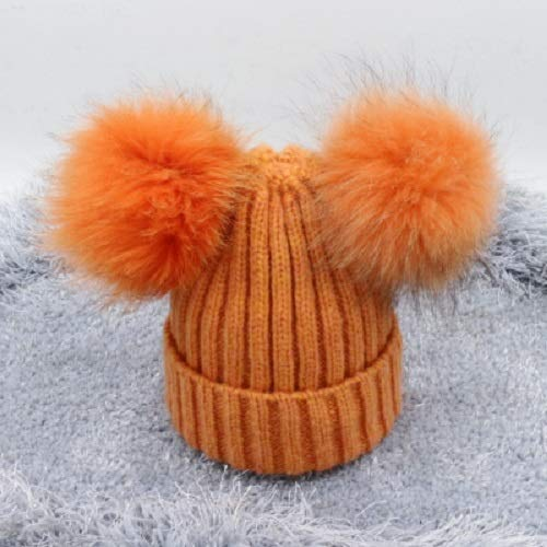 abfdd906547b6c Amazon.com: Kids Fur Ears Wool Beanies/Puff Balls Double Pom pom Hats  Adult/Children/Knitted Fluffy Beanies Orange Hats: Handmade