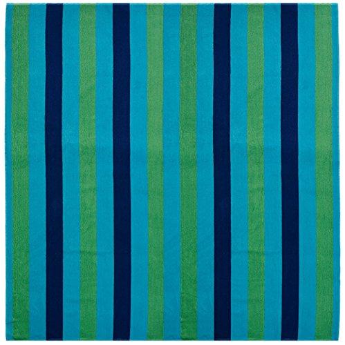 Cotton Square Towels - Cotton Craft - Oversized Woven Velour Beach Towel - Huge 58x68-inch Size - 100% Cotton - Plush Beach Blanket - Swim Towel for Two - Cabana Blue Stripe