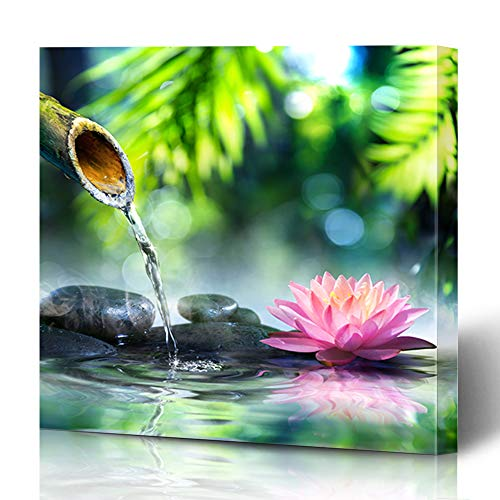 Ahawoso Canvas Prints Wall Art 12x16 Inches Health Green Spa Zen Garden Black Stones Pink Waterlily Nature Parks Bamboo Water Fountain Lotus Decor for Living Room Office Bedroom