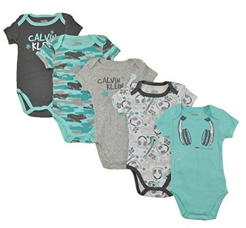 Infant Turquoise Kids Clothing (Calvin Klein Baby Boys' Assorted Short Sleeve Bodysuit, Turquoise/Gray, 0-3 Months (Pack Of 5))