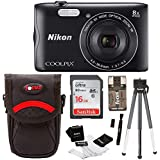 Nikon Coolpix A300 Wi-Fi Digital Camera (Black) with 16GB Card + Case + Kit
