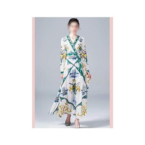 Vestido de Mujer Corbata Ligera con Cuello en v y Manga Larga con ...