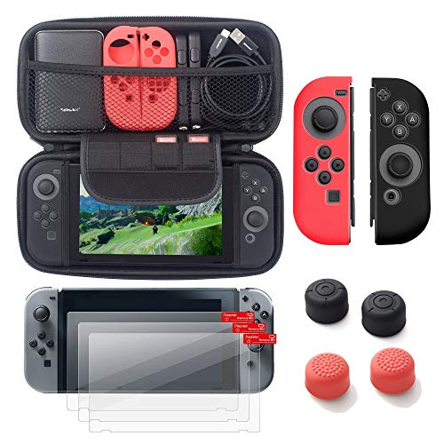 For Nintendo Switch 6 in 1 items Starter Kit by Insten Carrying Case Hard Shell Cover + 3-pack LCD Screen Protector Film + Joy-Con Controller Skin [Left RED/Right BLACK] + Joy-Con Thumb Grip Stick Cap