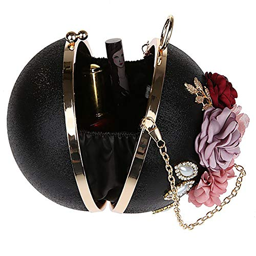 Ball Gold Ladies Women Bag Polyester and Flowers Diameter Shape for Shoulder Bag EDLUX 14cm with Banquet Buckle Evening Round Black Metallic Handbag Party qU8xnnt