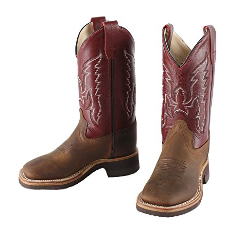 Old West Kids Boots Unisex Broad Square Toe Crepe (Toddler/Little Kid) Brown 11.5 M US Little (Crepe Footwear)