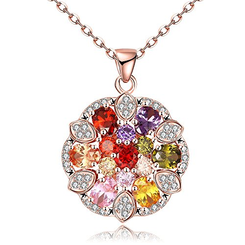 Price comparison product image Winter's Secret Delicate Beautiful Colours Diamond Accented Rose Gold Plated Flower Pendant Necklace