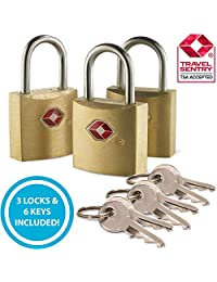 Lewis N. Clark Mini Brass Square TSA Lock + Padlock for Luggage, Suitcase, Carry On, Backpack, Laptop Bag or Purse-Gold