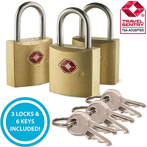 (Lewis N. Clark Mini Brass Square TSA Lock + Padlock for Luggage, Suitcase, Carry On, Backpack, Laptop Bag or Purse - Perfect for Airport, Hotel, & Gym, 2 Keys Included)