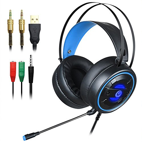 DLAND Gaming Headset with Mic and Changeable LED Light for Laptop Computer, Cellphone, PS4 and Son on, 3.5mm Wired Noise Isolations Gaming Headphones- Volume Control.