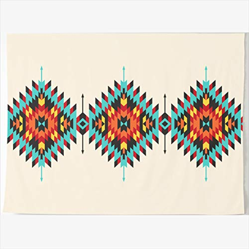 - AlliuCoo Tapestry Home Decor 60 x 60 Inches Navajo Tribal Geometric Border Pattern Abstract American Peru Tapestries Wall Hangings Art for Bedroom Living Room Dorm