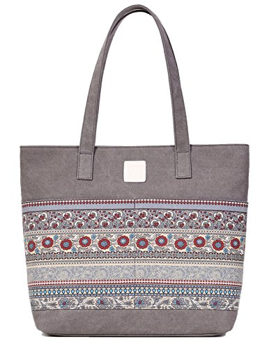 Tote Canvas Handbag (ArcEnCiel Women's Casual Canvas Tote Bags Shoulder Handbag Travel Bag (Gray))