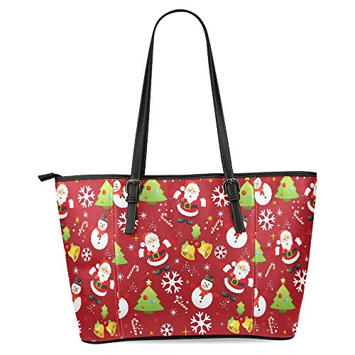 InterestPrint Christmas Pattern Santa Claus and Snowman Women's Leather Tote Shoulder Bags Handbags