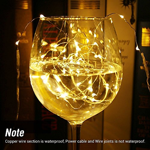 2 Pack, Waterproof Starry Fairy Copper String Lights USB Powered fwith SWITCH or Bedroom Indoor Outdoor Warm White Ambiance Lighting for Patio Wedding Decor 66 feet 200 LEDs Power Adapter Included by 12APM (Image #7)