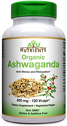 AyuNutrients Organic Ashwagandha -650 MG-2 Veggie Capsules Per Serving -120 Count | Made in USA | Supports Resistance to Fatigue,Relieve Stress, Mental Clarity,Focus,Strength and (120 Capsules Roll)